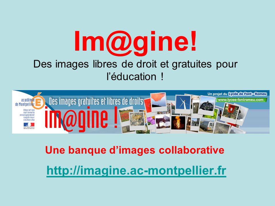 Im@gine! Des images libres de droit et gratuites pour l'éducation !