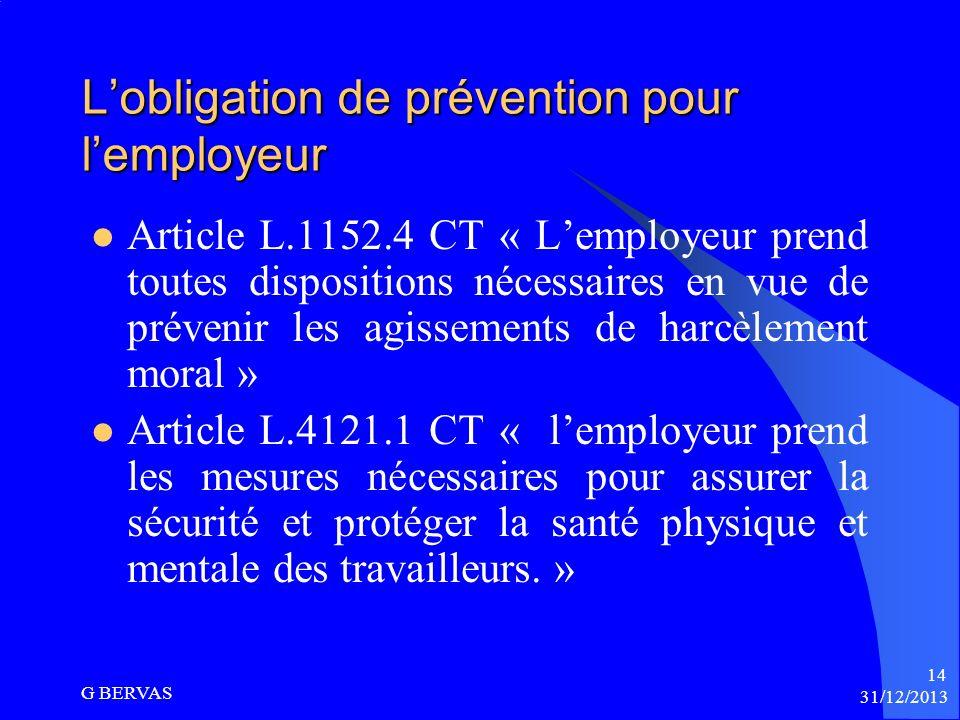 L'obligation de prévention pour l'employeur