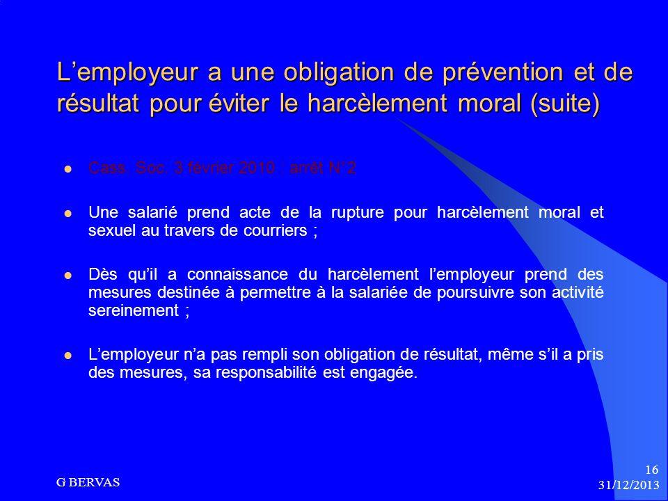 L'employeur a une obligation de prévention et de résultat pour éviter le harcèlement moral (suite)