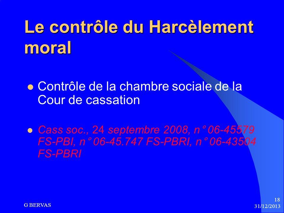 Le contrôle du Harcèlement moral