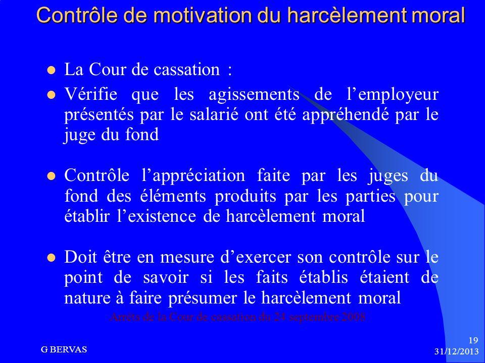 Contrôle de motivation du harcèlement moral