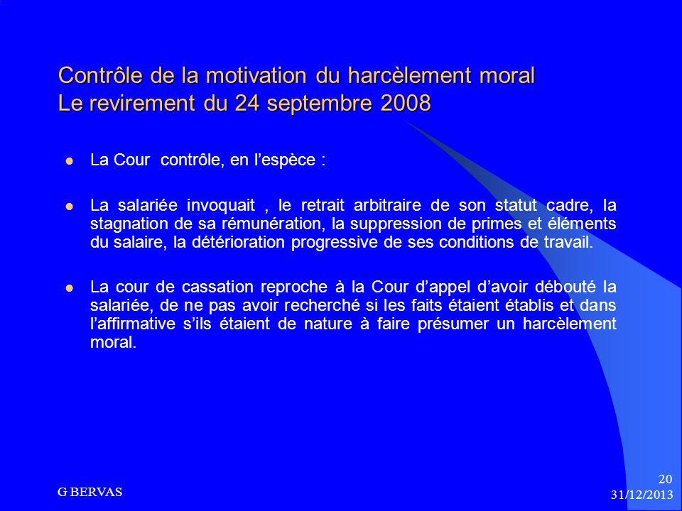 Contrôle de la motivation du harcèlement moral Le revirement du 24 septembre 2008