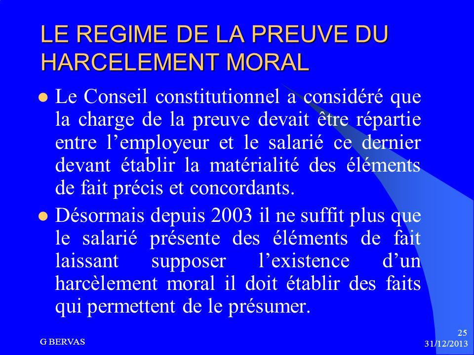 LE REGIME DE LA PREUVE DU HARCELEMENT MORAL