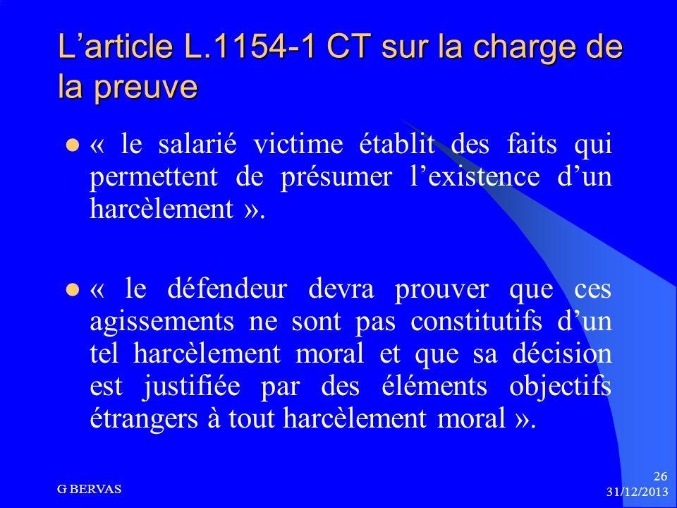 L'article L.1154-1 CT sur la charge de la preuve