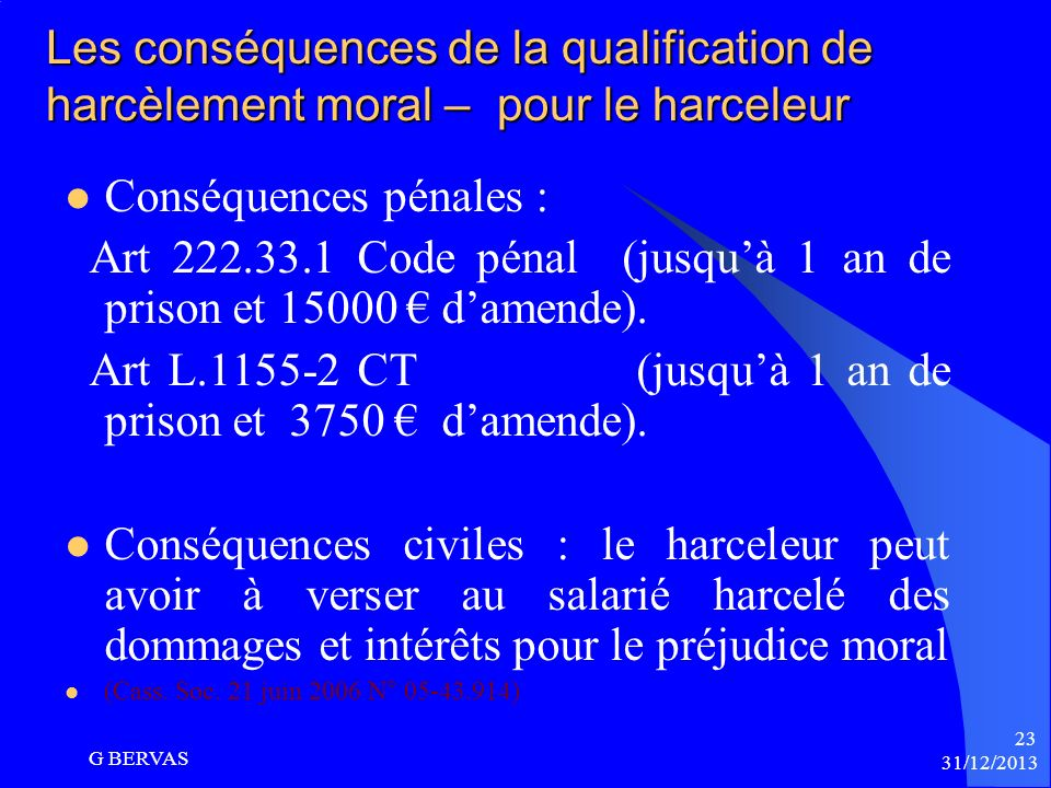 harcelement moral article code penal