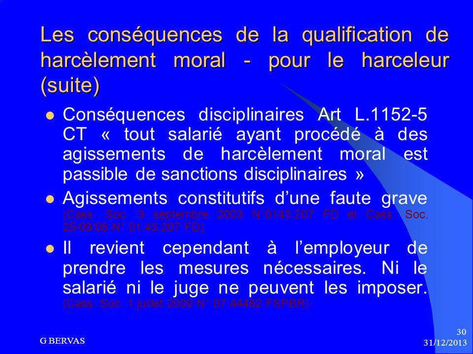 Les conséquences de la qualification de harcèlement moral - pour le harceleur (suite)