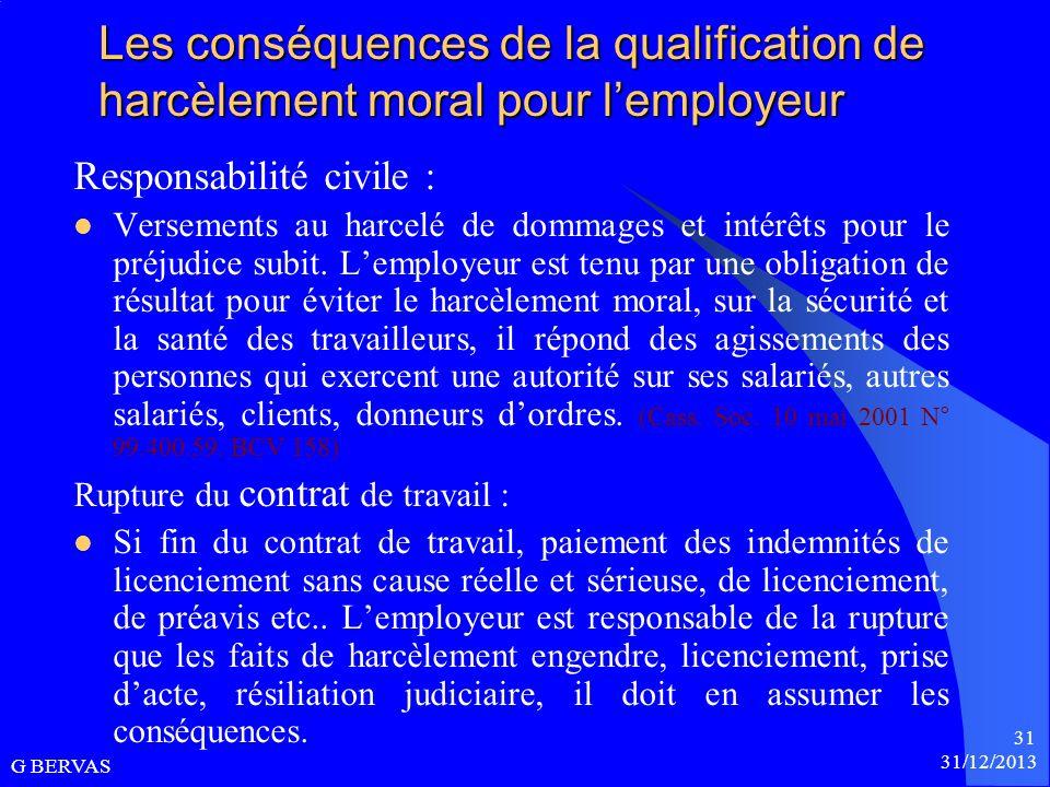 Les conséquences de la qualification de harcèlement moral pour l'employeur