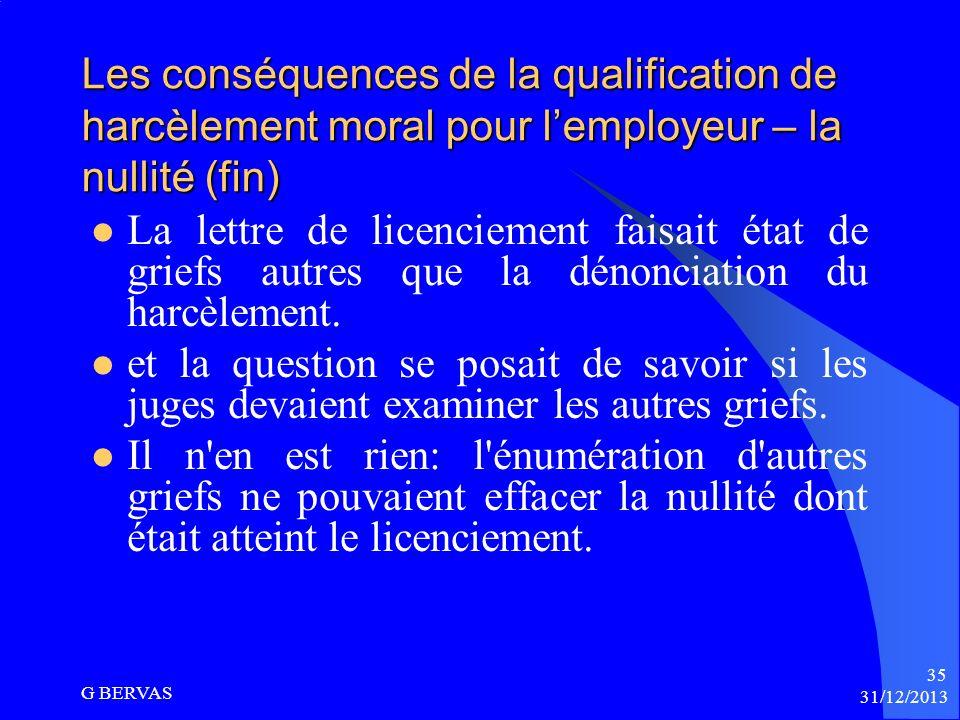 Les conséquences de la qualification de harcèlement moral pour l'employeur – la nullité (fin)