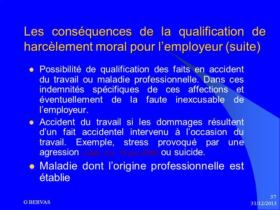 Les conséquences de la qualification de harcèlement moral pour l'employeur (suite)