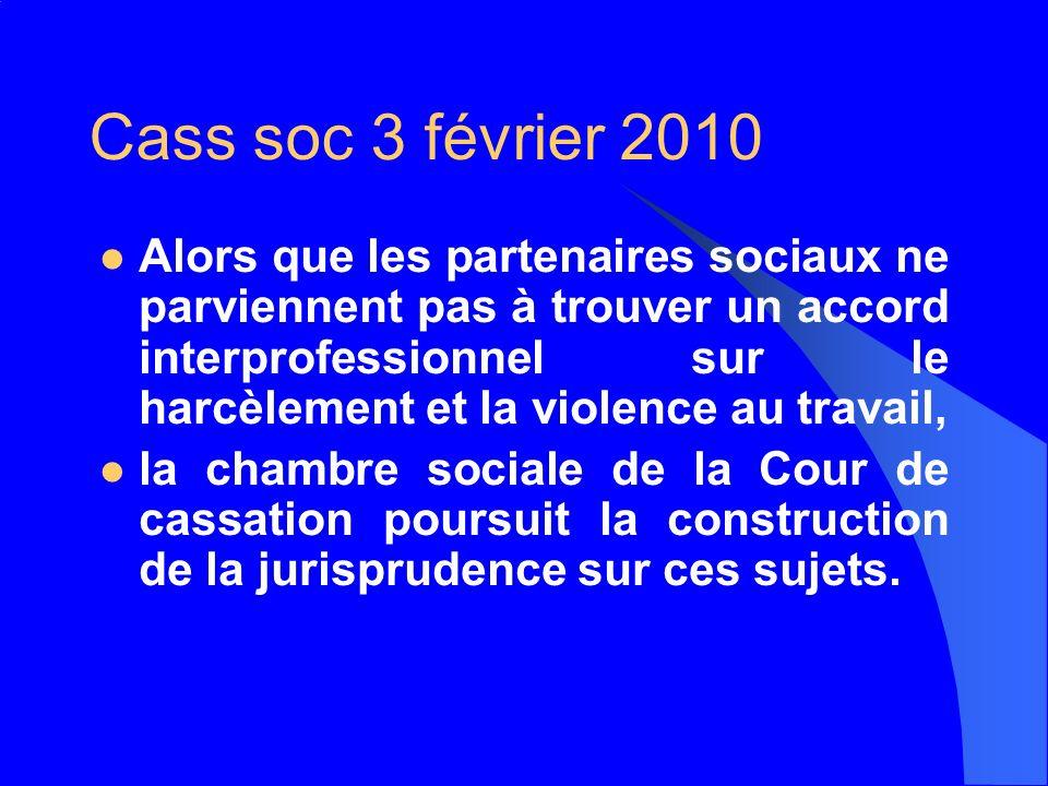 Cass soc 3 février 2010
