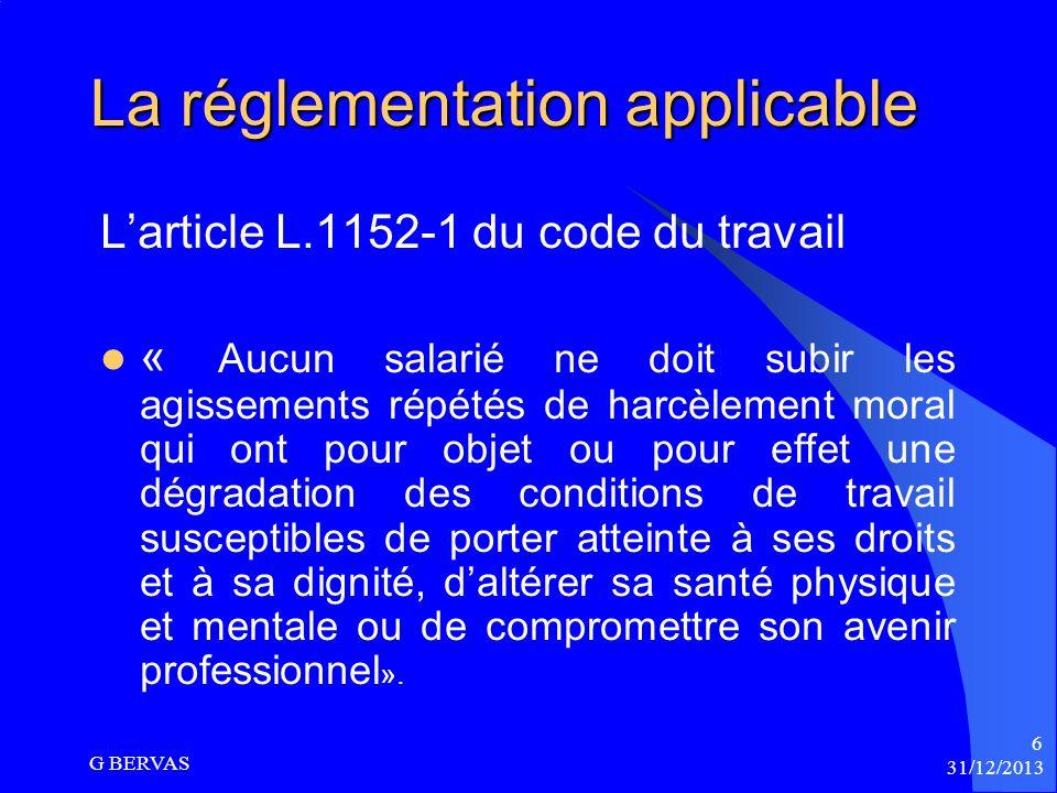 La réglementation applicable