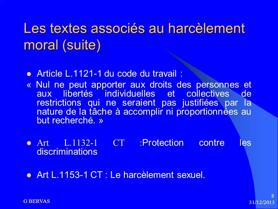 Les textes associés au harcèlement moral (suite)