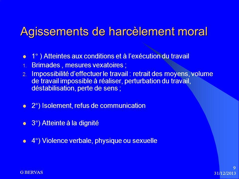 Agissements de harcèlement moral