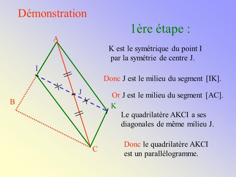 1ère étape : Démonstration A K est le symétrique du point I