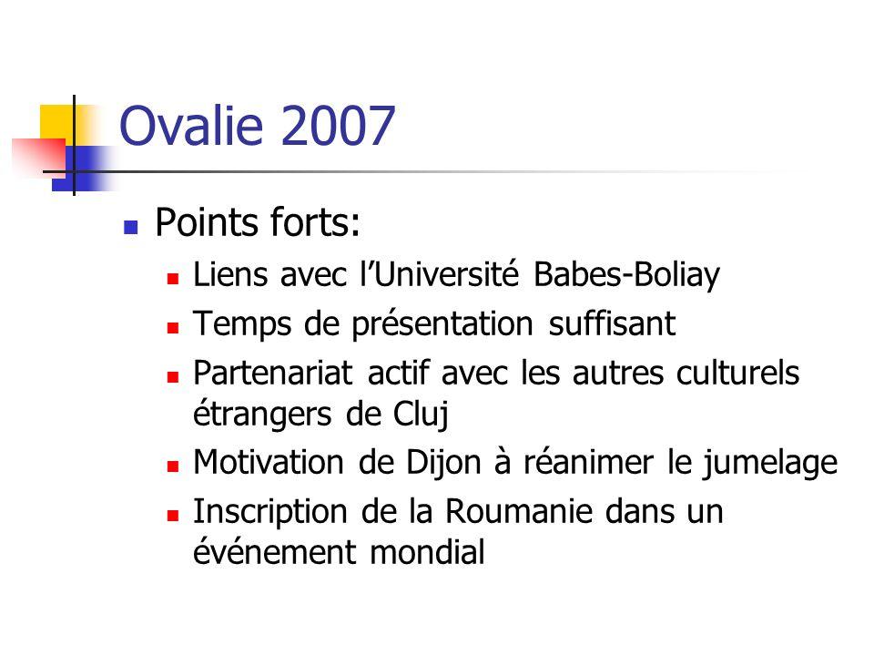 Ovalie 2007 Points forts: Liens avec l'Université Babes-Boliay