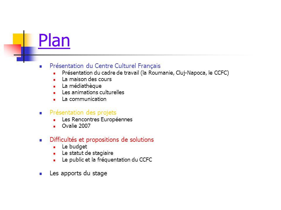 Plan Présentation du Centre Culturel Français Présentation des projets