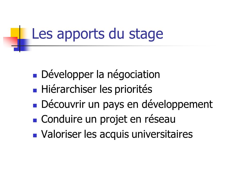 Les apports du stage Développer la négociation