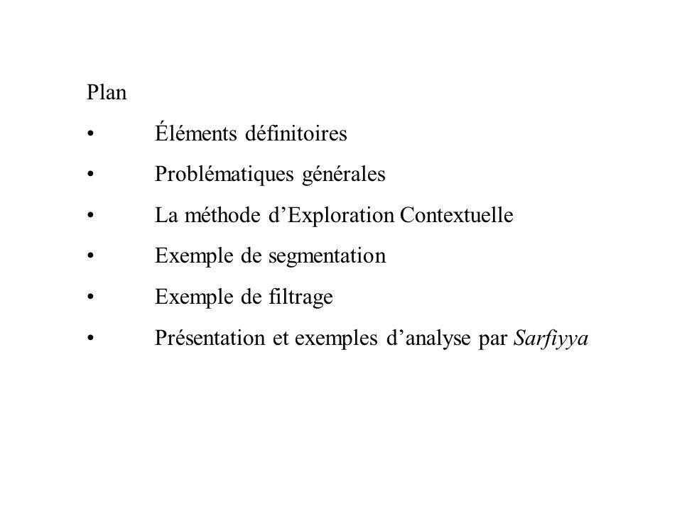 Plan Éléments définitoires. Problématiques générales. La méthode d'Exploration Contextuelle. Exemple de segmentation.