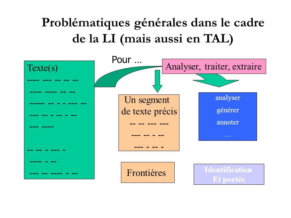 Problématiques générales dans le cadre de la LI (mais aussi en TAL)