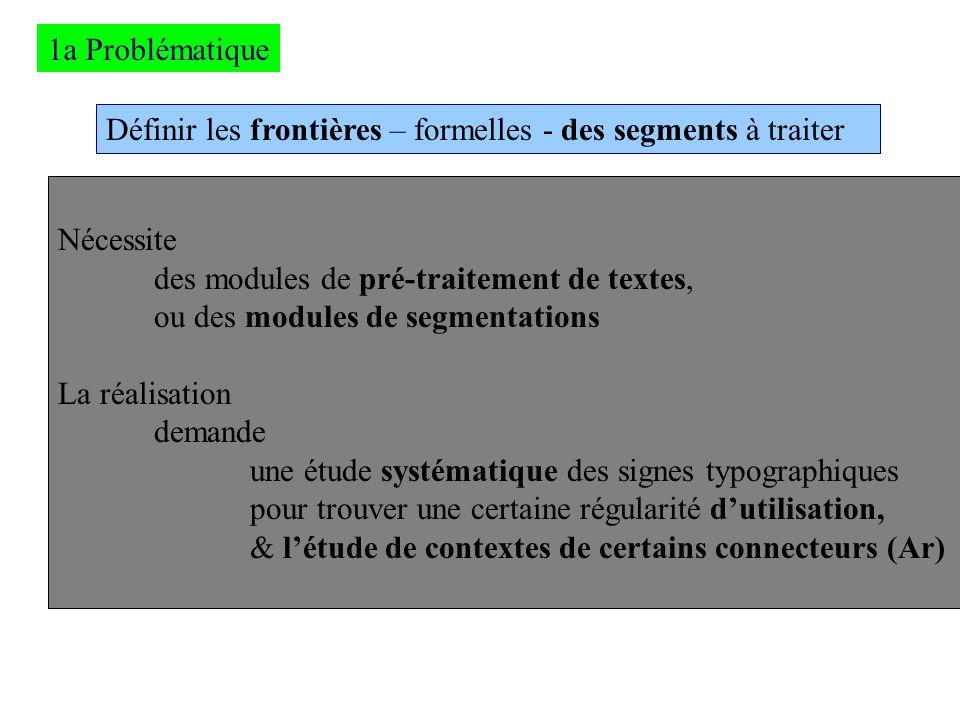 1a ProblématiqueDéfinir les frontières – formelles - des segments à traiter. Nécessite. des modules de pré-traitement de textes,