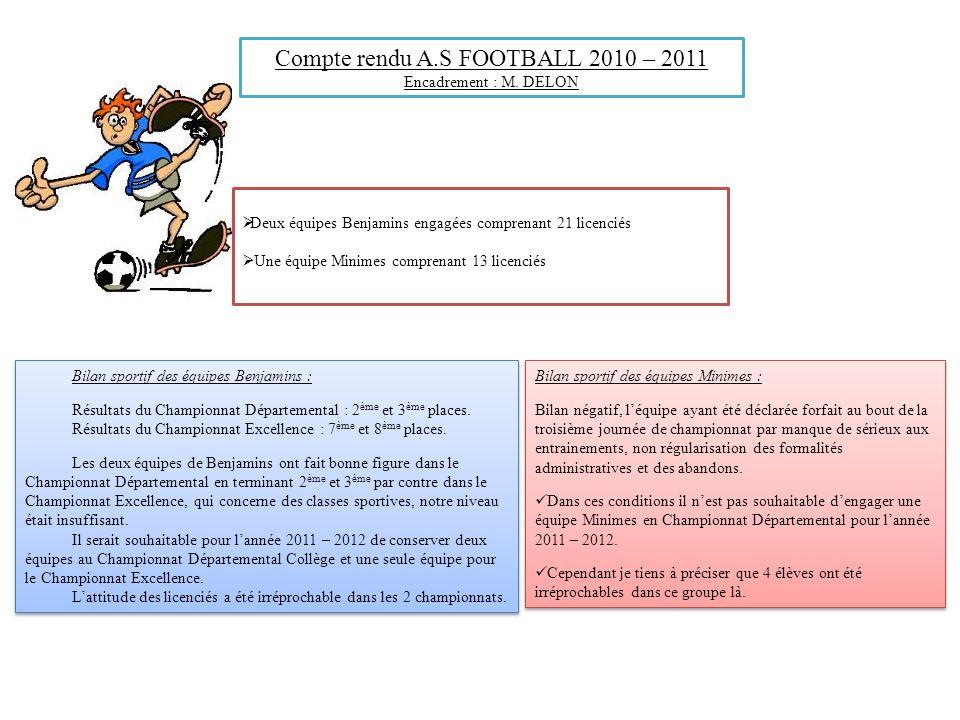 Compte rendu A.S FOOTBALL 2010 – 2011