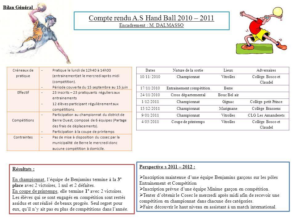 Compte rendu A.S Hand Ball 2010 – 2011