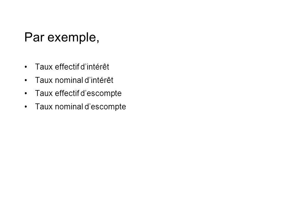 Par exemple, Taux effectif d'intérêt Taux nominal d'intérêt