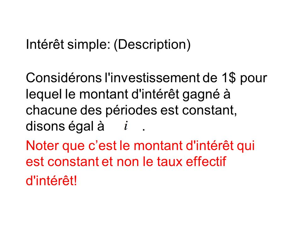 Intérêt simple: (Description)