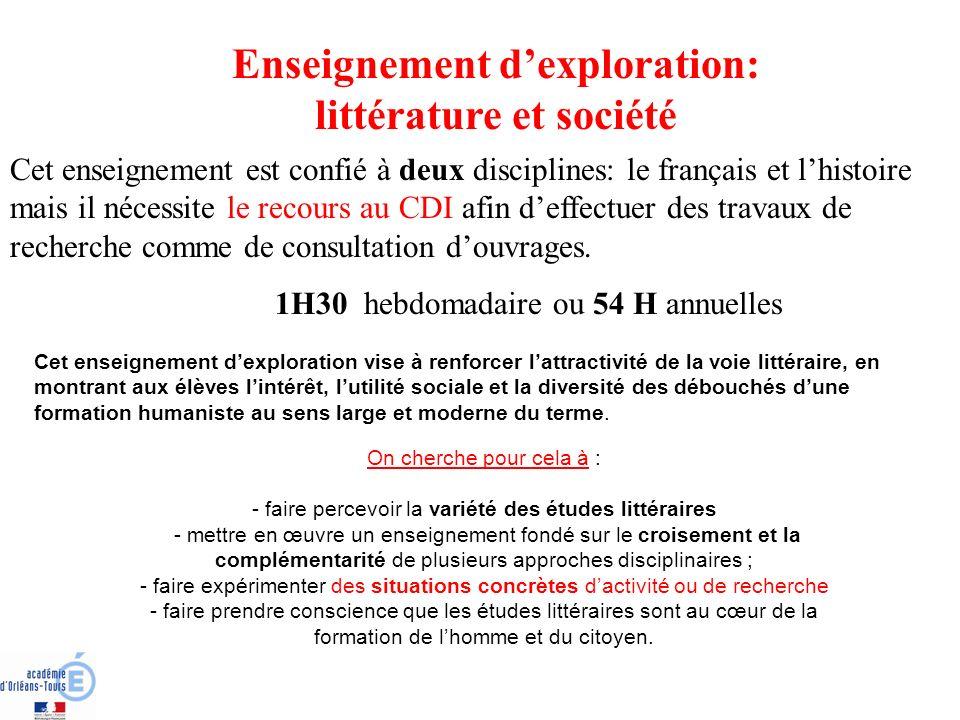 Enseignement d'exploration: littérature et société