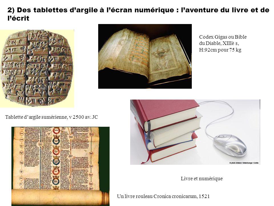 2) Des tablettes d'argile à l'écran numérique : l'aventure du livre et de l'écrit