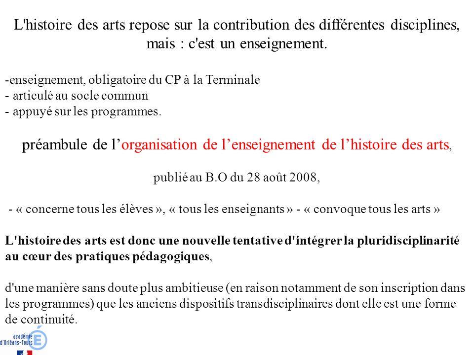 préambule de l'organisation de l'enseignement de l'histoire des arts,