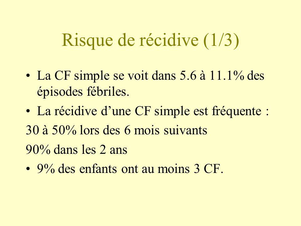Risque de récidive (1/3) La CF simple se voit dans 5.6 à 11.1% des épisodes fébriles. La récidive d'une CF simple est fréquente :
