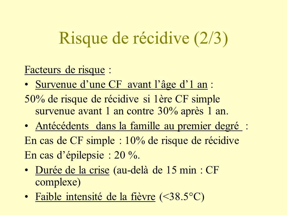Risque de récidive (2/3) Facteurs de risque :