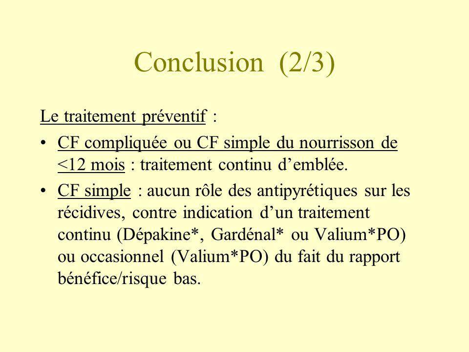 Conclusion (2/3) Le traitement préventif :
