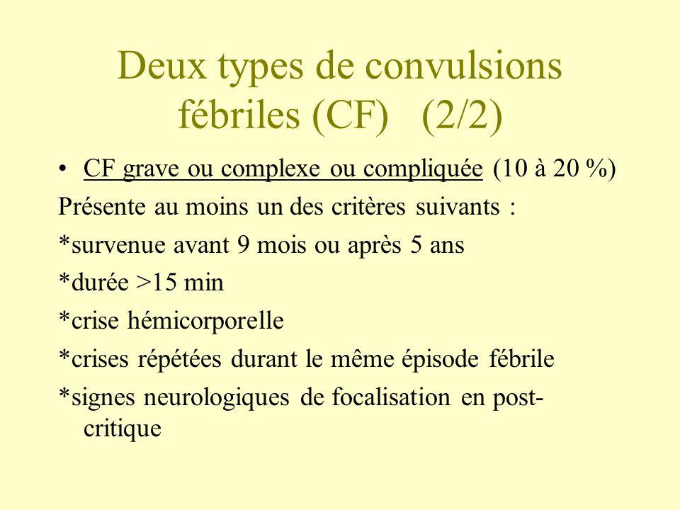 Deux types de convulsions fébriles (CF) (2/2)