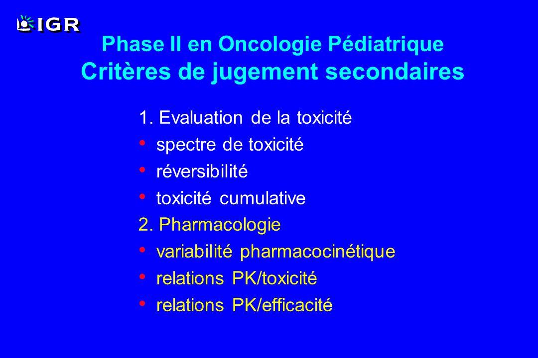 Phase II en Oncologie Pédiatrique Critères de jugement secondaires