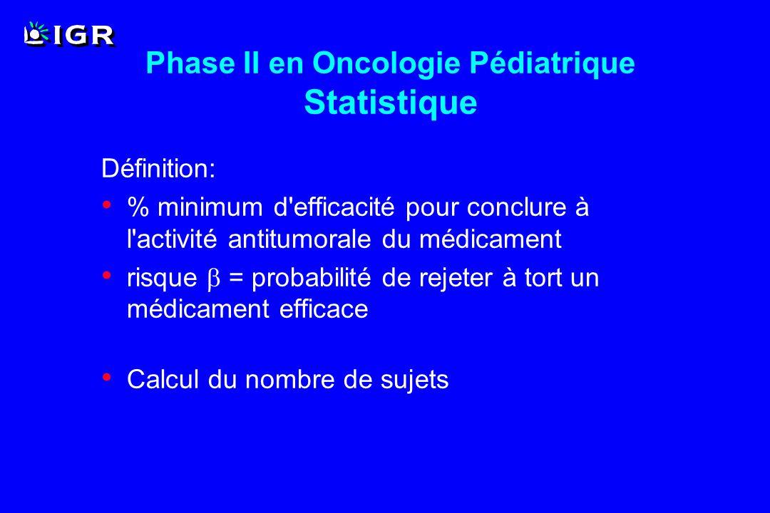 Phase II en Oncologie Pédiatrique Statistique