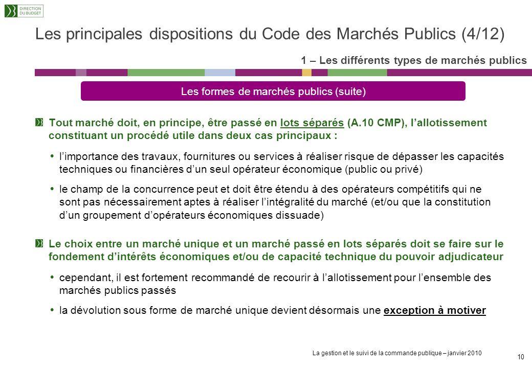 Les principales dispositions du Code des Marchés Publics (4/12)