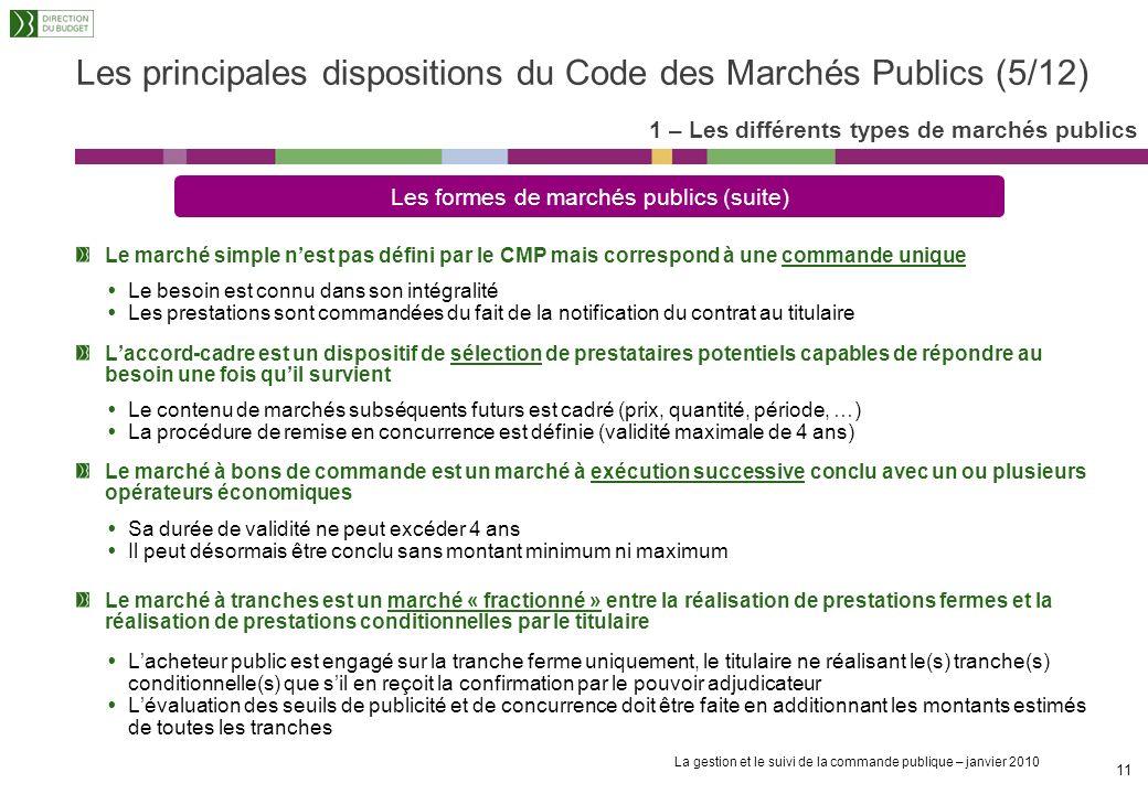 Les principales dispositions du Code des Marchés Publics (5/12)