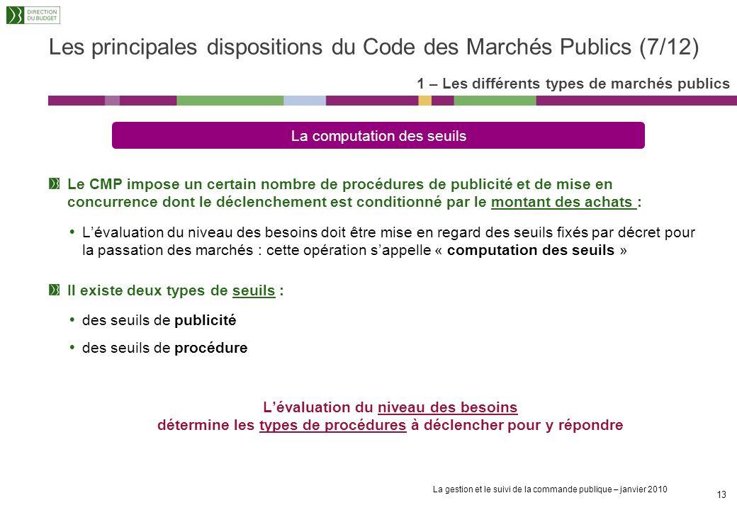 Les principales dispositions du Code des Marchés Publics (7/12)