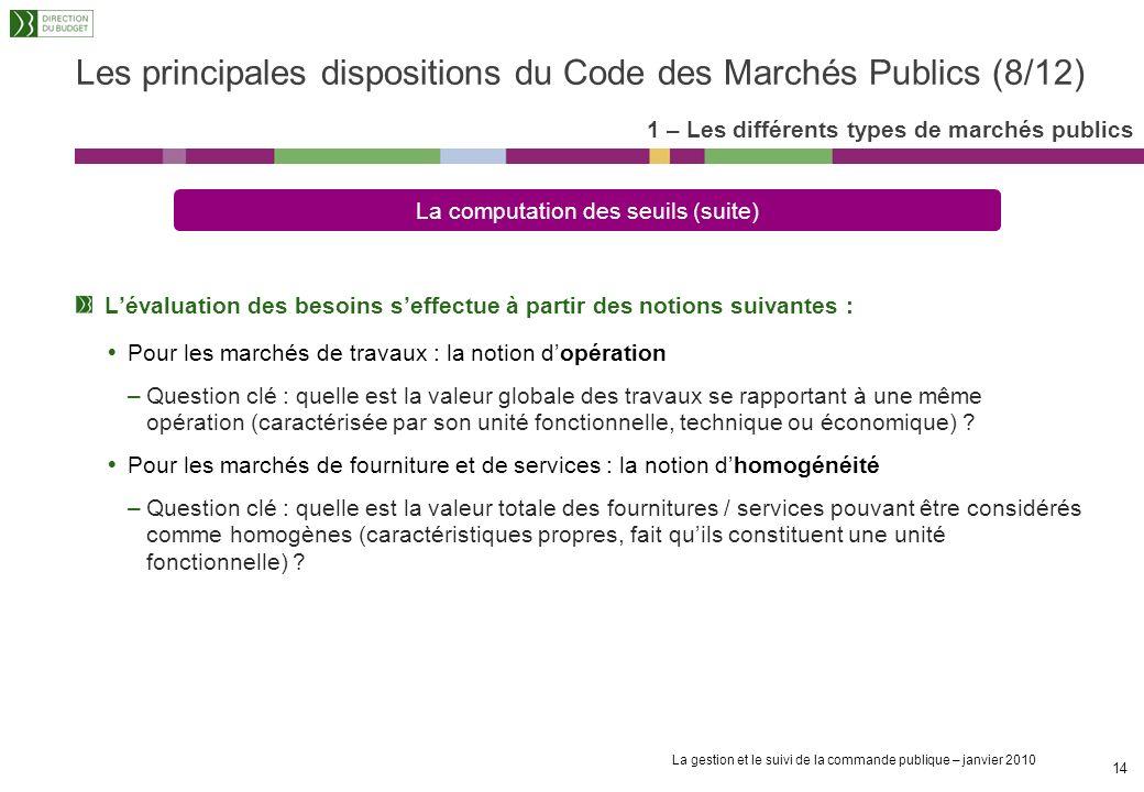 Les principales dispositions du Code des Marchés Publics (8/12)