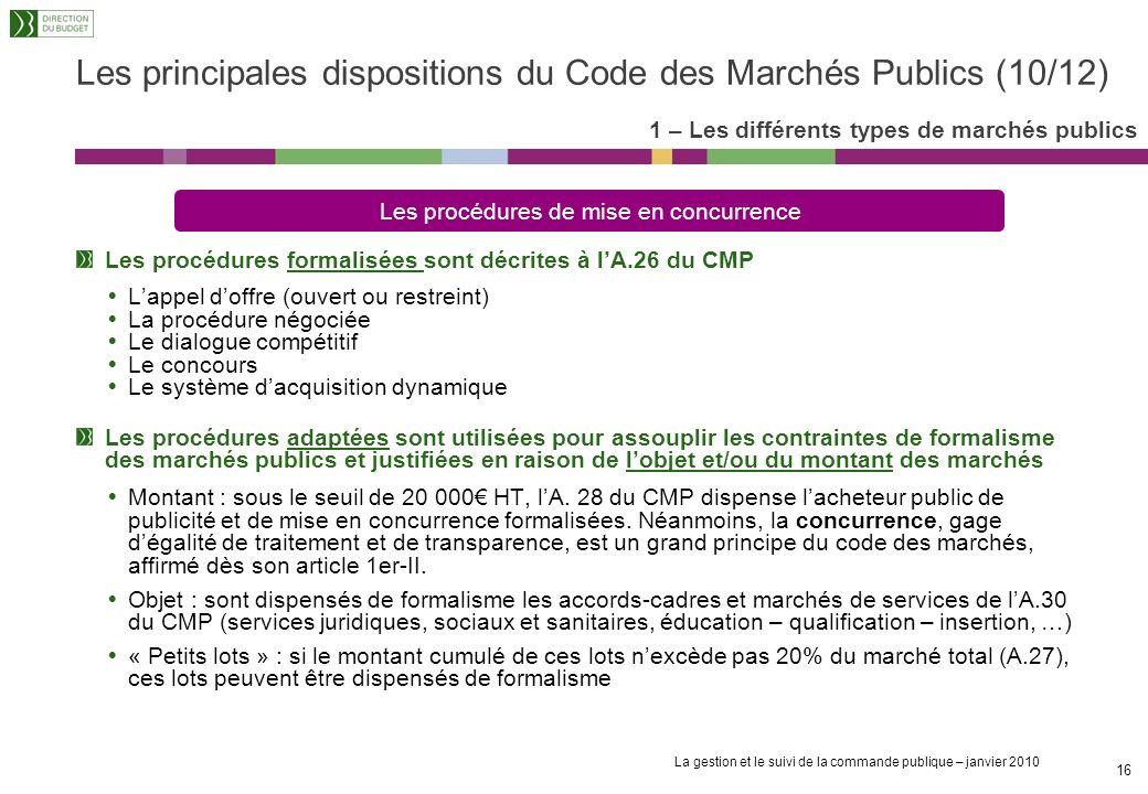 Les principales dispositions du Code des Marchés Publics (10/12)