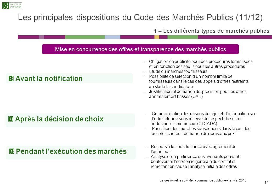 Les principales dispositions du Code des Marchés Publics (11/12)