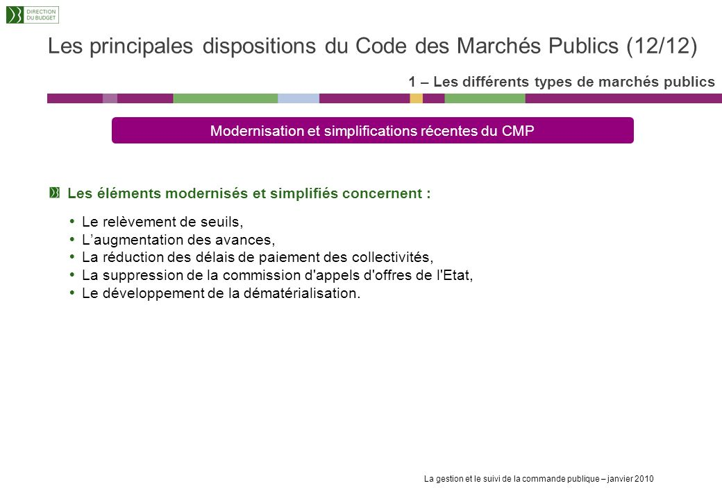 Les principales dispositions du Code des Marchés Publics (12/12)