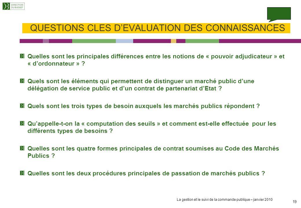 QUESTIONS CLES D'EVALUATION DES CONNAISSANCES