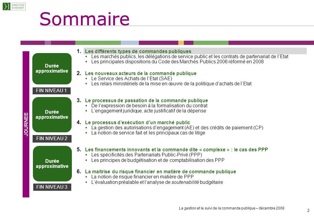 Sommaire Les différents types de commandes publiques