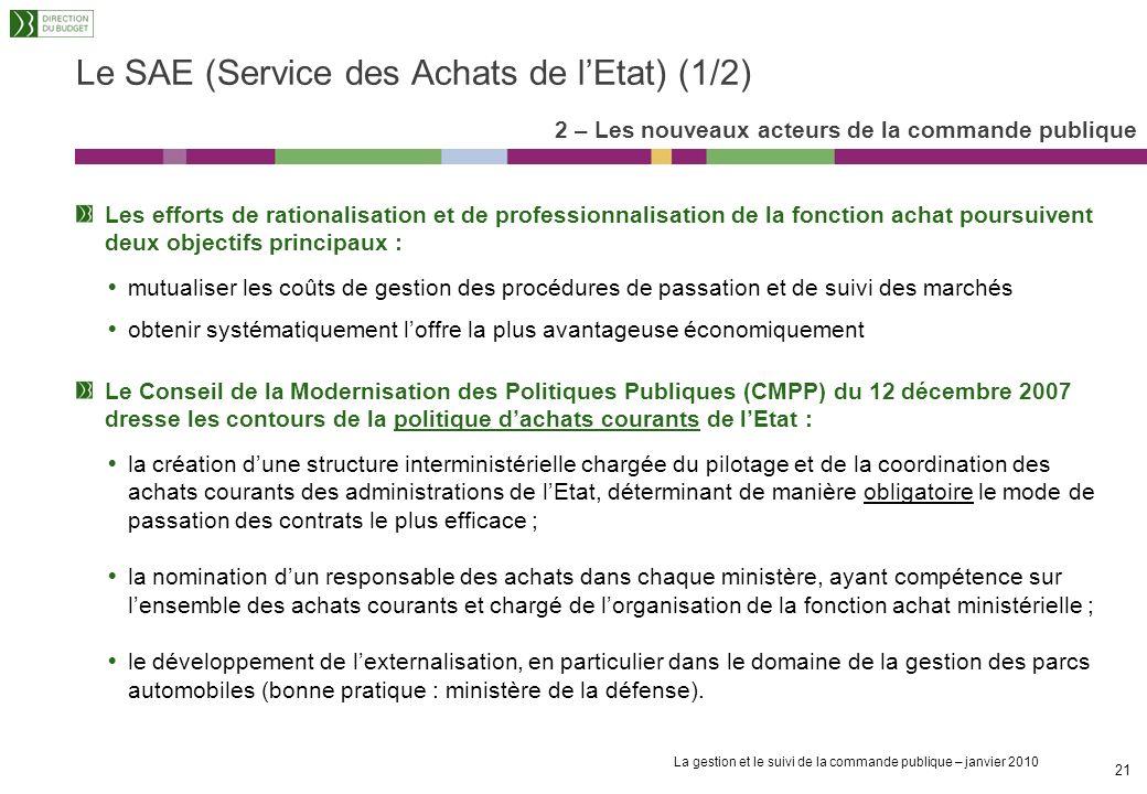 Le SAE (Service des Achats de l'Etat) (1/2)
