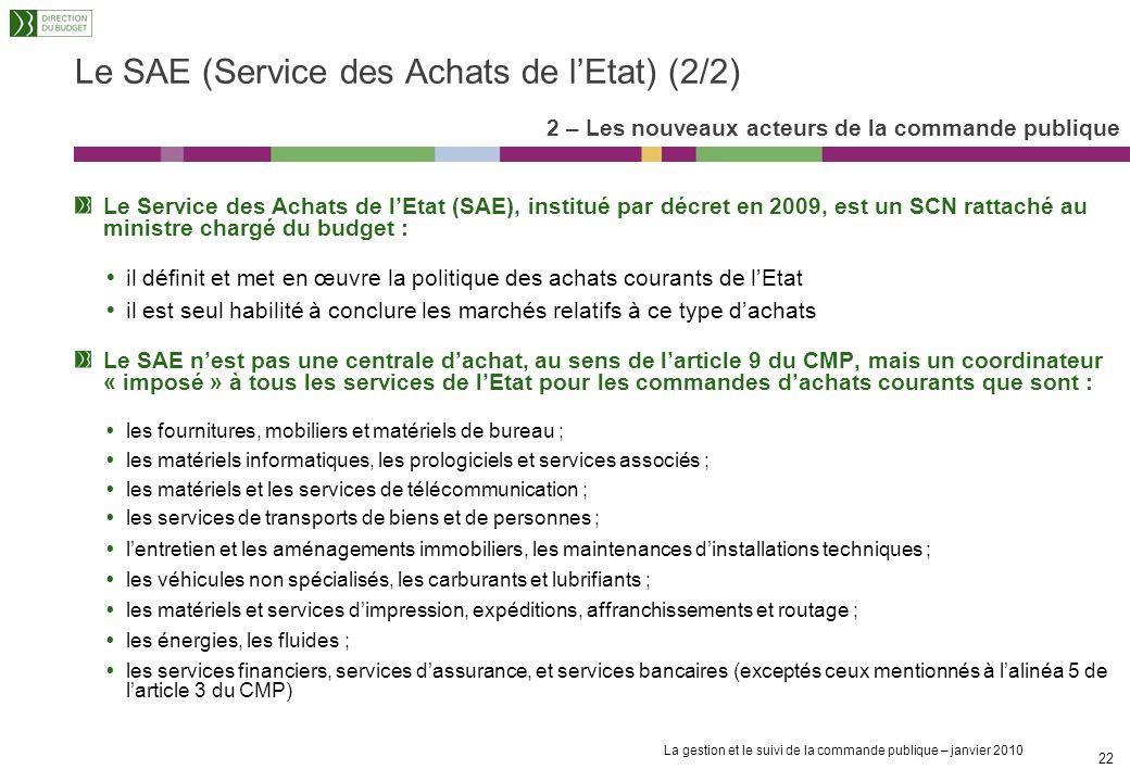 Le SAE (Service des Achats de l'Etat) (2/2)