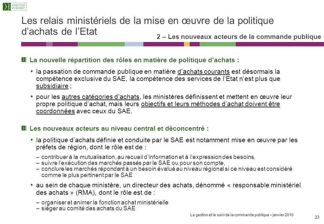 Les relais ministériels de la mise en œuvre de la politique d'achats de l'Etat