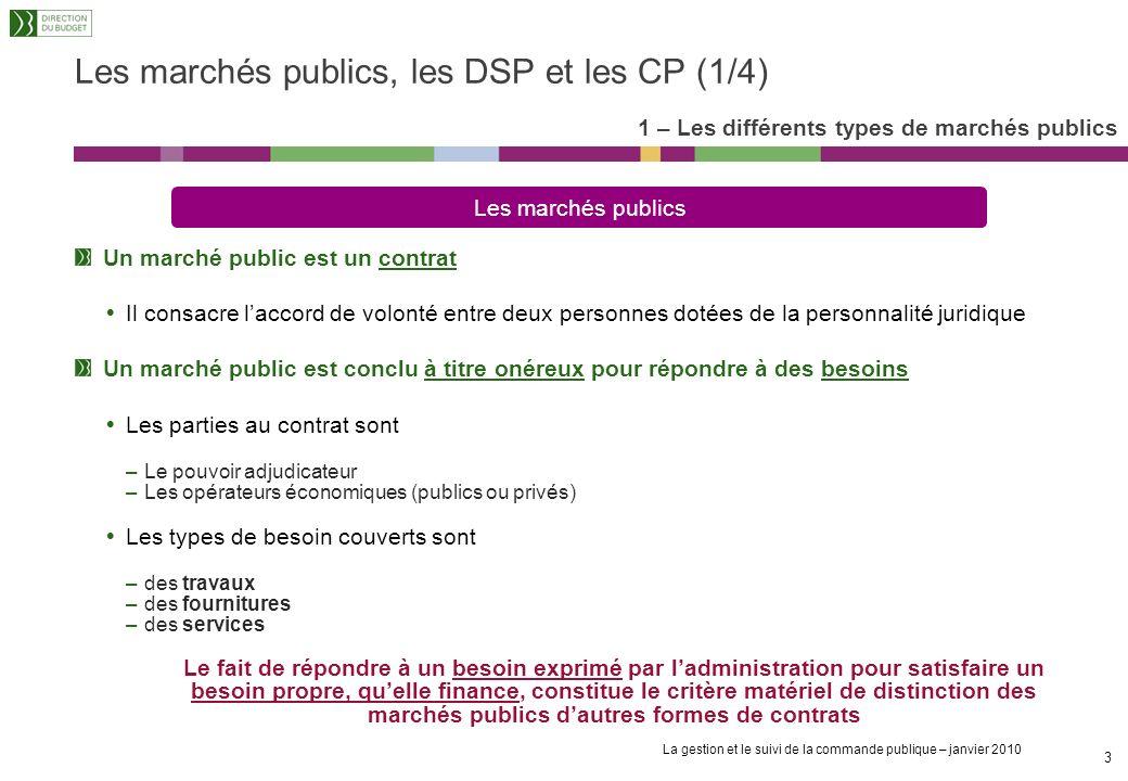 Les marchés publics, les DSP et les CP (1/4)